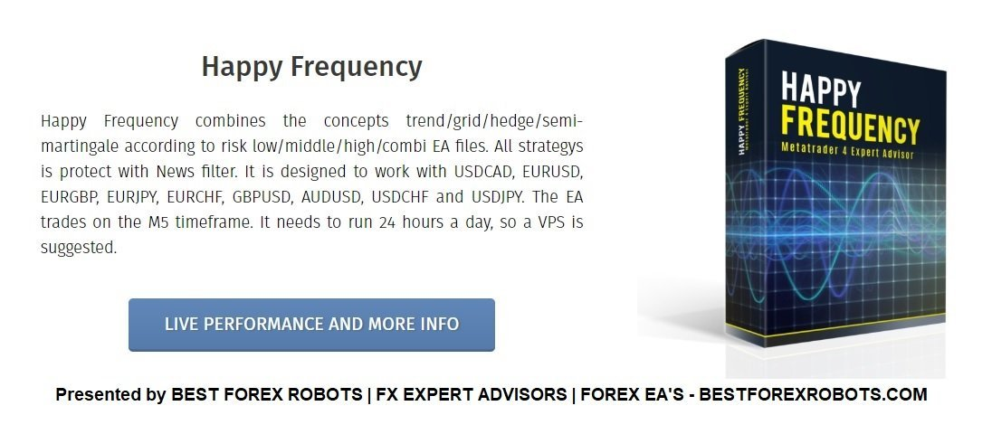 Happy Frequency EA Review - Happy Frequency EA Is A Profitable FX Expert Advisor And Reliable Forex Robot For Metatrader 4 (MT4) Using Trend / Grid / Hedge / Semi-Martingale Strategies